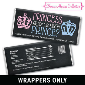 Personalized Bonnie Marcus Gender Reveal Princess or Prince Chocolate Bar Wrappers Only