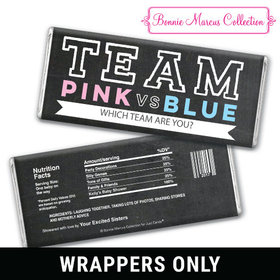 Personalized Bonnie Marcus Gender Reveal Team Pink vs. Team Blue Chocolate Bar Wrappers Only