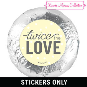 "Personalized Bonnie Marcus Birth Announcement Twice the Love 1.25"" Stickers (48 Stickers)"