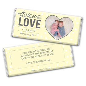 Personalized Bonnie Marcus Birth Announcement Twice the Love Chocolate Bar Wrappers Only