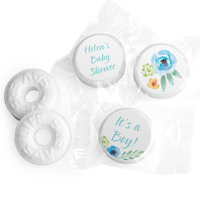 Personalized Bonnie Marcus Baby Shower Watercolor Blossom Wreath Blue Life Savers Mints