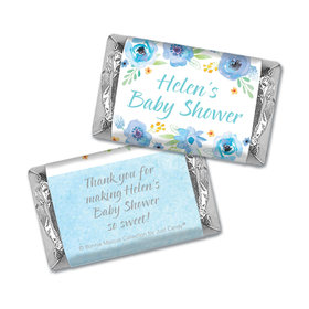 Personalized Bonnie Marcus Baby Shower Watercolor Blossom Wreath Blue Mini Wrappers Only