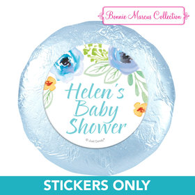 "Personalized Bonnie Marcus Baby Shower Watercolor Blossom Wreath Blue 1.25"" Stickers (48 Stickers)"