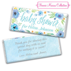 Personalized Bonnie Marcus Baby Shower Blue Watercolor Wreath Chocolate Bar & Wrapper
