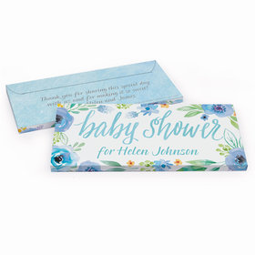 Deluxe Personalized Baby Shower Watercolor Blossom Wreath Chocolate Bar in Gift Box