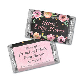 Personalized Bonnie Marcus Baby Shower Watercolor Blossom Wreath Chalkboard Hershey's Miniatures