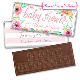 Personalized Bonnie Marcus Baby Shower Pink Watercolor Wreath Embossed Chocolate Bar & Wrapper