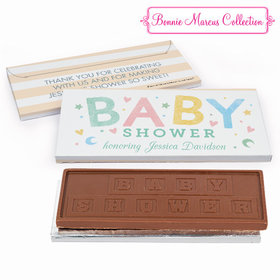Deluxe Personalized Baby Shower Colorful Baby Embossed Chocolate Bar in Gift Box