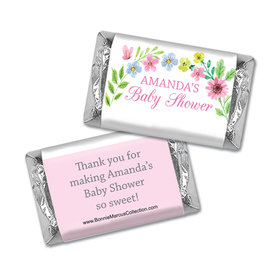 Personalized Bonnie Marcus Baby Shower Hershey's Miniatures Wrappers Butterfly Flower Wreath