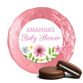 Personalized Bonnie Marcus Flower Wreath Baby Shower Milk Chocolate Covered Oreos (24 Pack)