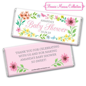 Personalized Bonnie Marcus Baby Shower Butterfly Flower Wreath Chocolate Bar & Wrapper