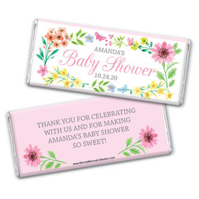 Personalized Bonnie Marcus Baby Shower Butterfly Flower Wreath Chocolate Bar Wrappers