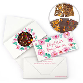Personalized Bonnie Marcus Baby Shower Pink Floral Wreath Gourmet Infused Belgian Chocolate Bars (3.5oz)