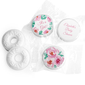 Personalized Bonnie Marcus Baby Shower Pink Floral Wreath Life Savers Mints