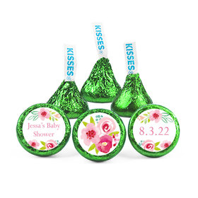 Personalized Bonnie Marcus Baby Shower Pink Watercolor Flowers Hershey's Kisses (50 pack)