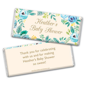 Personalized Bonnie Marcus Baby Shower Watercolor Flowers Chocolate Bar Wrappers Only