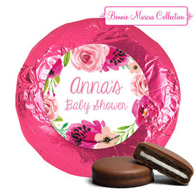 Personalized Bonnie Marcus Watercolor Blossom Wreath Baby Shower Milk Chocolate Covered Oreos (24 Pack)