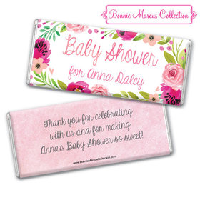 Personalized Bonnie Marcus Baby Shower Painted Petals Chocolate Bar & Wrapper