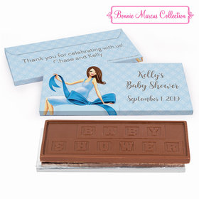 Deluxe Personalized Baby Bow Baby Shower Embossed Chocolate Bar in Gift Box
