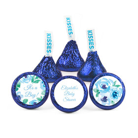 Personalized Bonnie Marcus Baby Shower Blue Watercolor Wreath Hershey's Kisses (50 pack)