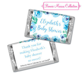Personalized Bonnie Marcus Blue Floral Wreath Baby Shower Hershey's Miniatures