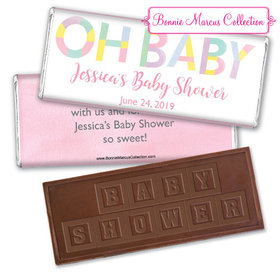 Personalized Bonnie Marcus Baby Shower Pastel Embossed Chocolate Bar & Wrapper