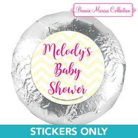 Personalized Bonnie Marcus Chevron Banner Girl Baby Shower 1.25in Stickers (48 Stickers)