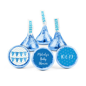 Personalized Bonnie Marcus Baby Shower Chevron Banner Boy Hershey's Kisses (50 pack)