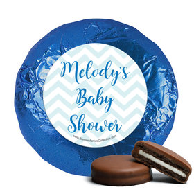 Personalized Bonnie Marcus Chevron Banner Boy Baby Shower Milk Chocolate Covered Oreos (24 Pack)