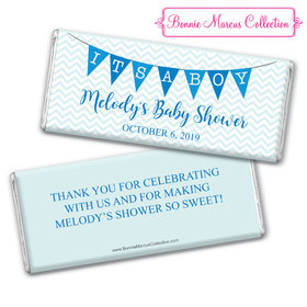 Personalized Bonnie Marcus Baby Shower Chevron Banner Boy Chocolate Bar & Wrapper