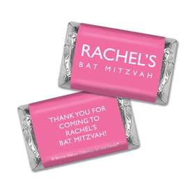 Bat Mitzvah Personalized Solid Pink Miniatures Wrappers