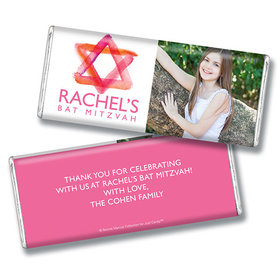 Bat Mitzvah Personalized Photo Pink Star of David Chocolate Bar