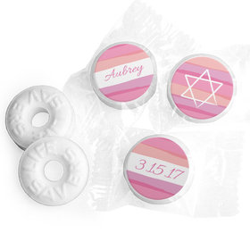 Bat Mitzvah Personalized Pink Watermark Life Savers Mints