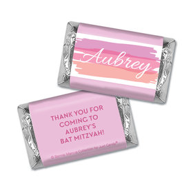 Bat Mitzvah Personalized Pink Watermark Miniatures Wrappers