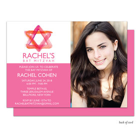 Bonnie Marcus Collection Personalized Pink Star of DavidBat Mitzvah Invitation with Photo