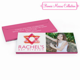 Deluxe Personalized Bat Mitzvah Pink Star of David Chocolate Bar in Gift Box