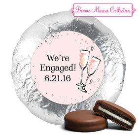 Bonnie Marcus Collection Engagement Pink Champagne Milk Chocolate Drenched Oreo Cookies Foil Wrapped