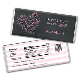 Bonnie Marcus Collection Personalized Chocolate Bar Chocolate and Wrapper Sweetheart Swirl Engagement