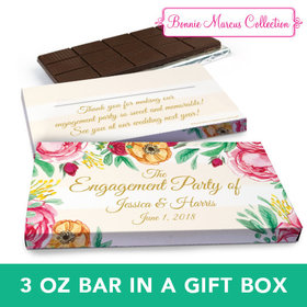Deluxe Personalized Pink Flowers Wedding Chocolate Bar in Gift Box (3oz Bar)