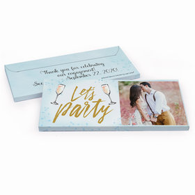 Deluxe Personalized Engagement Champagne Party Chocolate Bar in Gift Box