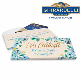 Deluxe Personalized Something Blue Engagement Ghirardelli Chocolate Bar in Gift Box