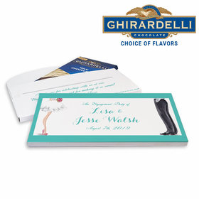 Deluxe Personalized Chic Couple Engagement Ghirardelli Chocolate Bar in Gift Box
