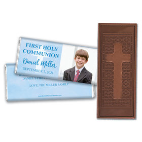 Personalized Bonnie Marcus Boy First Communion Faded Cross Embossed Chocolate Bars