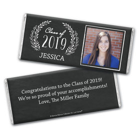 Personalized Bonnie Marcus Chalkboard Laurel Graduation Chocolate Bar Wrappers