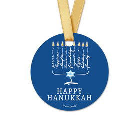 Personalized Round Bonnie Marcus Hanukkah Lights Favor Gift Tags (20 Pack)