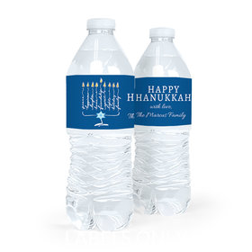 Personalized Bonnie Marcus Hanukkah Lights Water Bottle Sticker Labels (5 Labels)
