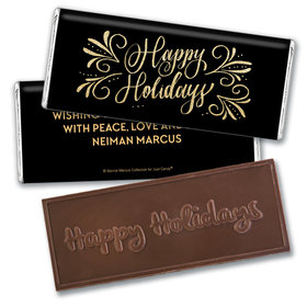 Personalized Bonnie Marcus Happy Holidays Flourish Embossed Chocolate Bar & Wrapper