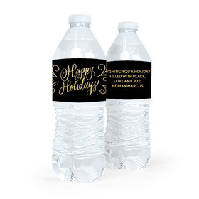 Personalized Bonnie Marcus Happy Holidays Flourish Water Bottle Labels (5 Labels)