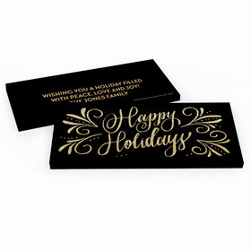 Deluxe Personalized Happy Holidays Flourish Candy Bar Favor Box
