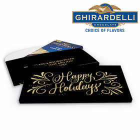 Deluxe Personalized Happy Holidays Flourish Christmas Ghirardelli Chocolate Bar in Gift Box